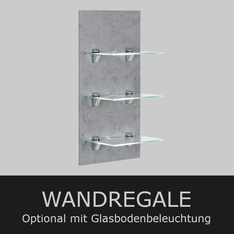 Wandregale | Optional mit Glasbodenbeleuchtung