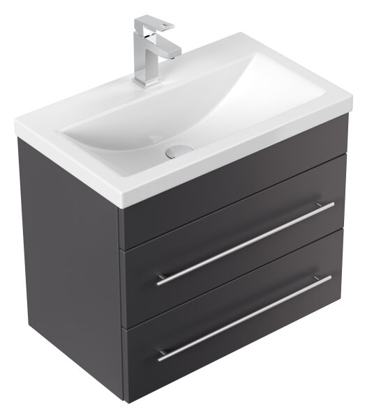 Waschplatz PORTUS 60cm anthrazit seidenglanz (SlimLine)