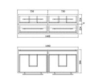 Doppelwaschplatz AURELION XL 143,5cm weiß hochglanz
