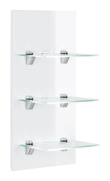 Wandregal VIVA weiß-Hochglanz mit Glasböden und LED-Beleuchtung