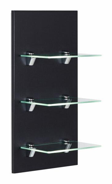 Wandregal VIVA schwarz-seidenglanz mit Glasböden