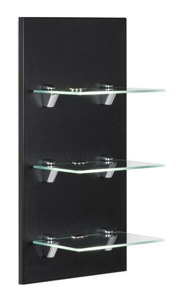Wandregal VIVA schwarz-seidenglanz mit Glasböden und LED-Beleuchtung