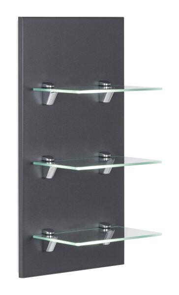 Wandregal VIVA anthrazit-seidenglanz mit Glasböden