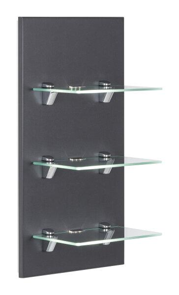 Wandregal VIVA anthrazit-seidenglanz mit Glasböden und LED-Beleuchtung