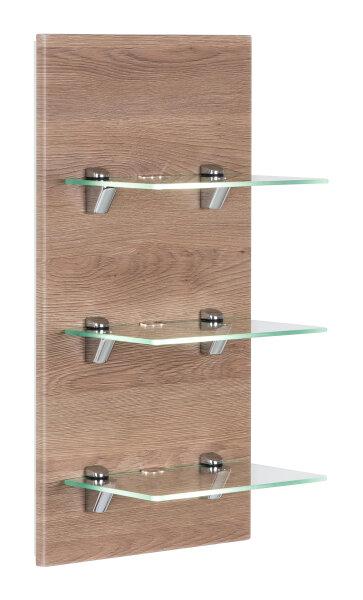 Wandregal VIVA Eiche-hell mit Glasböden und LED-Beleuchtung