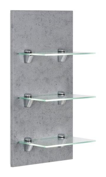 Wandregal VIVA Beton-Nb. mit Glasböden