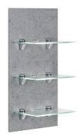 Wandregal VIVA Beton-Nb. mit Glasböden und...