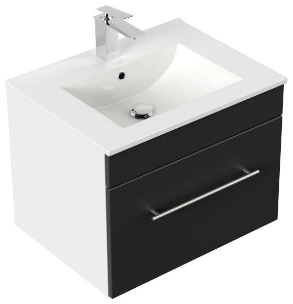Waschplatz VIVA 61,5cm weiss/schwarz seidenglanz