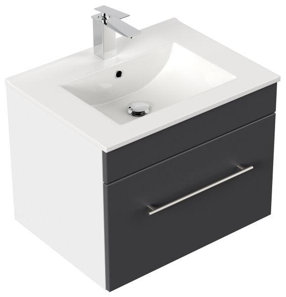 Waschplatz VIVA 61,5cm weiss/anthrazit seidenglanz