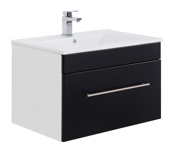 Waschplatz VIVA 75,5cm weiss/schwarz seidenglanz