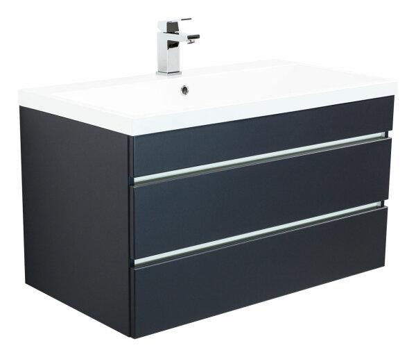 Waschplatz FELINI 90cm anthrazit seidenglanz mit grifflosen Schubladen