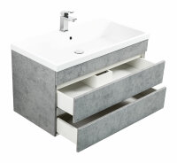Waschplatz FELINI 90cm Beton-Optik mit grifflosen Schubladen