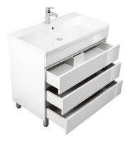 Waschplatz FELINIS 90cm weiss hochglanz mit grifflosen Schubladen