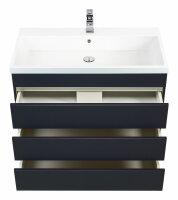 Waschplatz FELINIS 90cm anthrazit seidenglanz mit grifflosen Schubladen