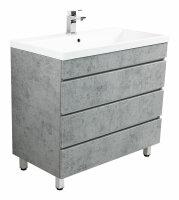 Waschplatz FELINIS 90cm Beton-Optik mit grifflosen...