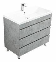 Waschplatz FELINIS 90cm Beton-Optik mit grifflosen Schubladen