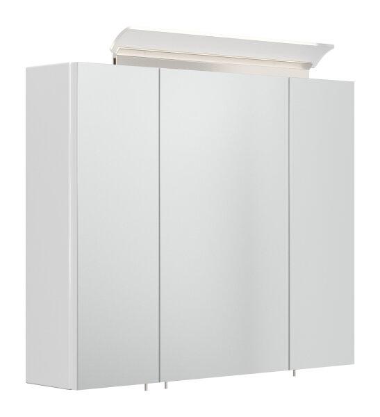 Spiegelschrank 75cm weiß hochglanz mit Design LED-Lampe