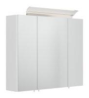 Spiegelschrank 75cm weiß hochglanz mit Design...