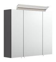 Spiegelschrank 75cm anthrazit seidenglanz mit Design LED-Lampe