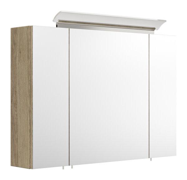 Spiegelschrank 90cm Eiche-Hell-Nb. mit Design LED-Lampe
