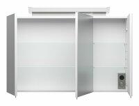 Spiegelschrank 100cm weiß hochglanz mit Design LED-Lampe