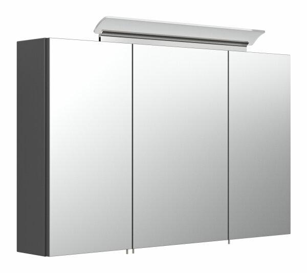 Spiegelschrank 100cm anthrazit seidenglanz mit Design LED-Lampe