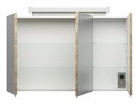 Spiegelschrank 100cm Eiche hell mit Design LED-Lampe