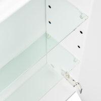 Spiegelschrank 80cm weiß hochglanz mit Design LED-Lampe