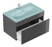 Waschplatz HERON anthrazit hochglanz inkl. Aquamarin Glasbecken