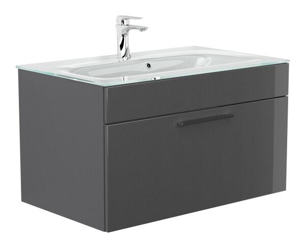 Waschplatz HERON anthrazit hochglanz inkl. Glasbecken weiß