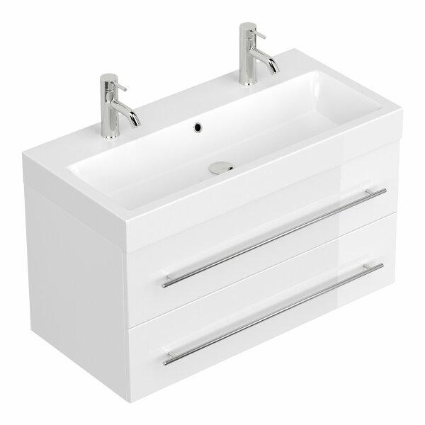 Doppel-Waschplatz LIVONO 100cm weiß hochglanz