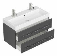 Doppel-Waschplatz LIVONO 100cm anthrazit seidenglanz