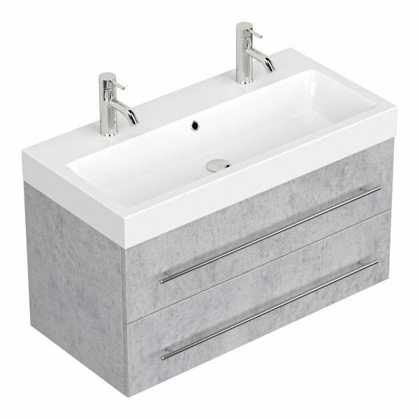 Doppel-Waschplatz LIVONO 100cm Beton-Optik