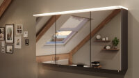 Spiegelschrank 120cm anthrazit seidenglanz mit LED-Acrylglaslampe