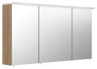 Spiegelschrank 120cm Eiche hell mit LED-Acrylglaslampe