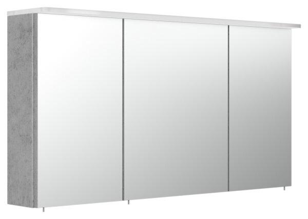 Spiegelschrank 120cm Beton-Optik mit LED-Acrylglaslampe