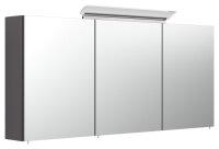 Spiegelschrank 140cm anthrazit seidenglanz mit Design LED-Lampe