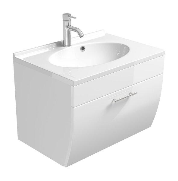 Waschplatz SALONA weiß 70cm mit Mineralgussbecken