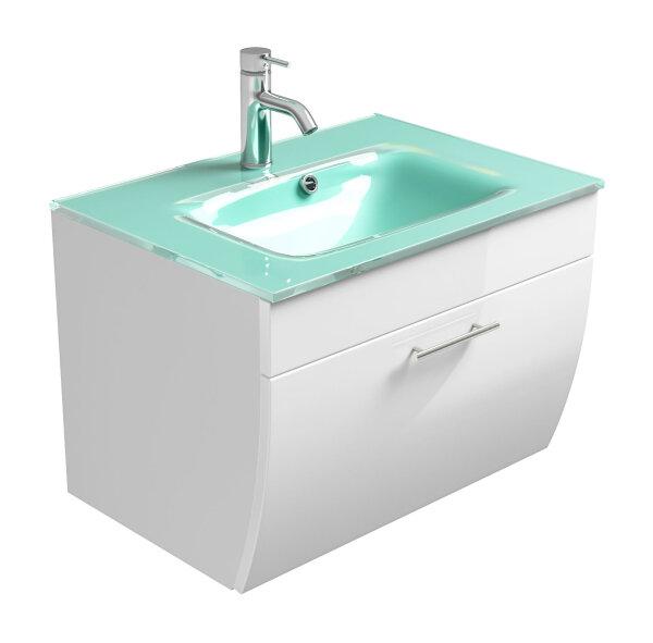 Waschplatz SALONA weiß 70cm mit Glasbecken