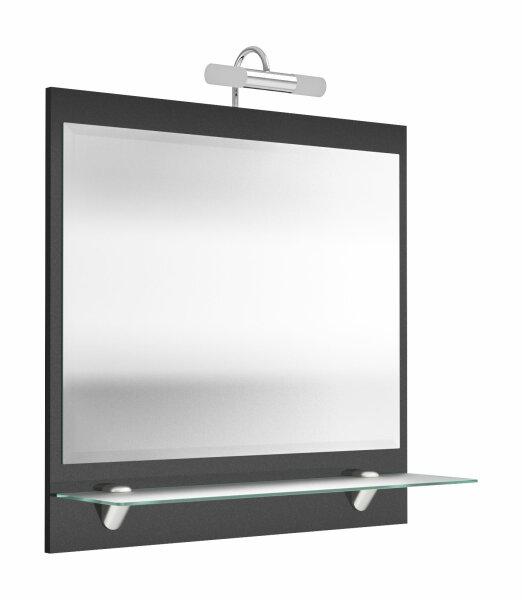 Spiegel SALONA anthrazit mit LED-Beleuchtung