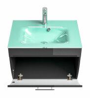 Waschplatz SALONA anthrazit 70cm mit Glasbecken