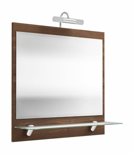 Spiegel SALONA Walnuss mit LED-Beleuchtung