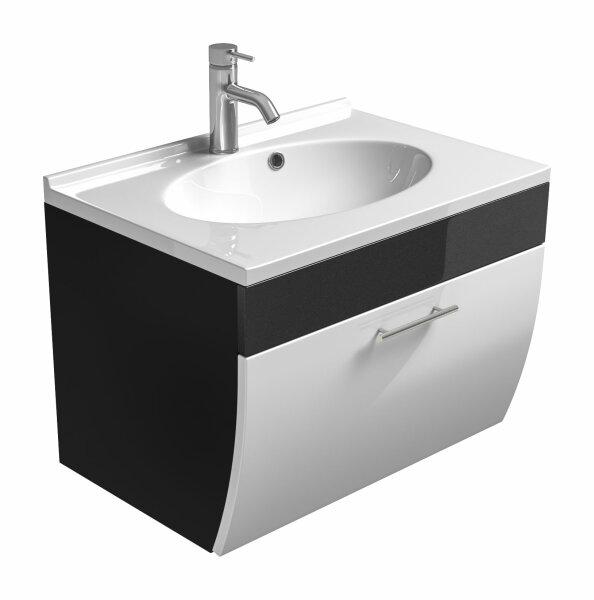 Waschplatz SALONA anthrazit-weiß 70cm mit Mineralgussbecken