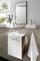 Handwaschplatz ALEXO Walnuss-Nb.-weiß mit Mineralgussbecken Hochglanz-Front