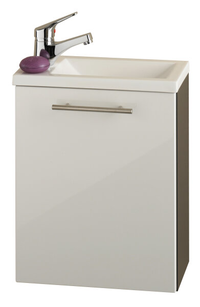 Handwaschplatz ALEXO anthrazit-weiß mit Mineralgussbecken Hochglanz-Front