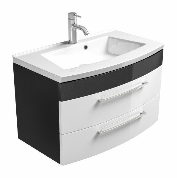 Waschplatz RIMA anthrazit-weiß 82cm mit Mineralgussbecken