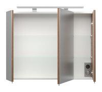 Spiegelschrank Walnuss-Nb. 80cm mit LED-Beleuchtung
