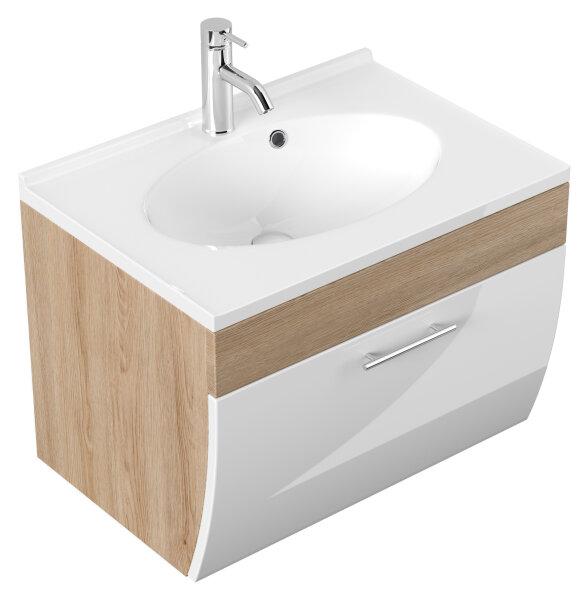 Waschplatz SALONA Eiche hell/weiß 70cm mit Mineralgussbecken